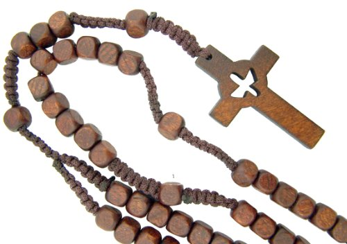 Catholic Confirmation Cut Out Holy Spirit Dove CrossWood Bead Cord Rosary, 18 Inch