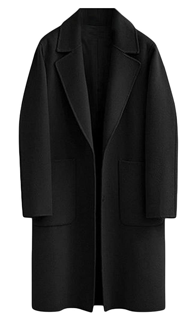 Cruiize Womens Solid Oversize Lapel Winter Outwear Cardigan Pea Coat