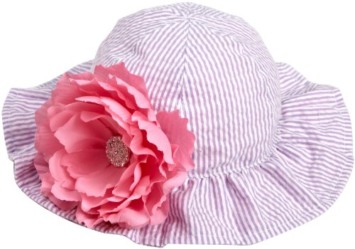 Mud Pie Baby-Girls Newborn Baby Buds Reversible Seersucker Flower Hat, Multi-Colored, 0-12 Months