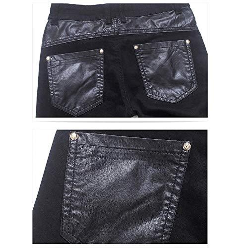 Pierna Mezclilla Bliker Weentop Con Cremallera 32 Recto Hombres Pu Largo Negro Negro Pantalón Faux Y Para De Tamaño Recta Punk Corte Deco color Pantalones qqn47TrEw