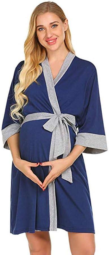 QinMM Bata de Maternidad Camisones Hospital Bata de Lactancia Materna Premamá camisón Mujer Embarazada Vestido Pijama Ropa de Dormir: Amazon.es: Ropa y accesorios