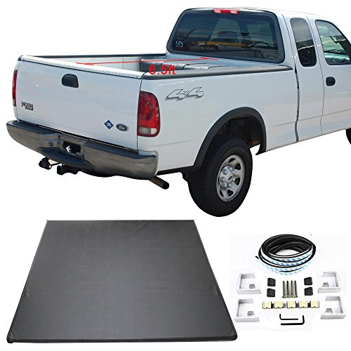 Tonneau Cover Fits 1997-2003 FORD F-150 | Tri-Fold Soft Style Double sided 24 oz vinyl Aluminum Black 6.5ft 78 in Bed By IKON MOTORSPORTS | 1998 1999 2000 2001 2002