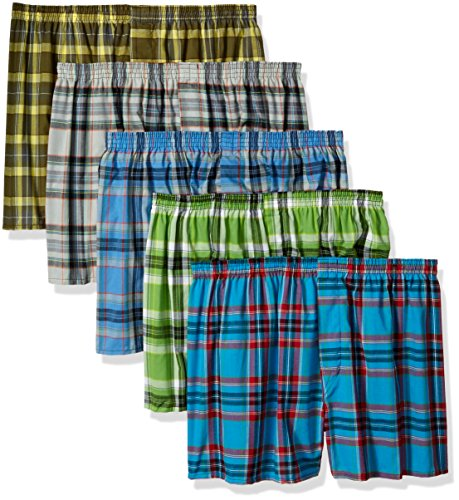 Fruit of the Loom Men's Big  Plaid Woven Boxer - Colors May Vary, Assorted, 3X-Large(Pack of 5)
