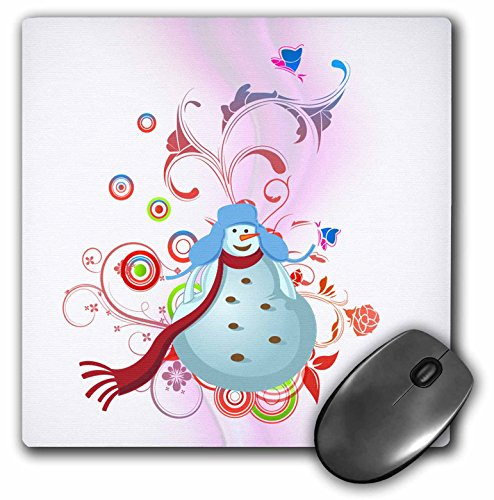 3dRose Dooni Designs Christmas and Winter Designs - Cute Chubby Snowman and Swirls Pretty Winter Holiday Vector Illustration - MousePad (mp_106998_1)