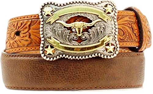 Nocona Boys' Tooled Billet Longhorn Buckle Belt Brown 24