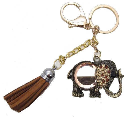 (1 Pc Handmade Tibetan Elephant Bling Rhinestone Keychain and Purse Hanger)