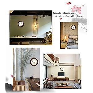 Wall clock Reloj Estilo Moderno y Sencillo Dormitorio Cocina Sala de Estar Oficina Esfera de Metal Espejo de Cristal Marco de Madera Movimiento de escaneo 2 Pilas AA 3