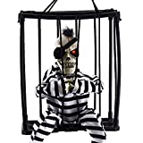 Dee Banna Halloween Horror Decorations,Hanging Caged Animated Jail Pris (Small Image)