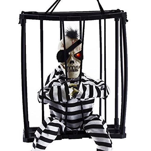 - Dee Banna Halloween Horror Decorations,Hanging Caged Animated Jail Prisoner Skeleton with Motion Sensor Voice Activated Scary Spooky Halloween Prop