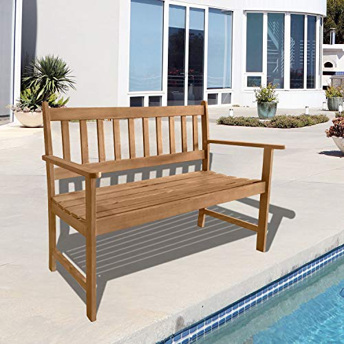 FDW Outdoor Patio Bench Wood Garden Bench Park Bench Acacia Wood for Pool Beach Backyard Balcony Porch Deck Garden Wooden Furniture, Natural Oiled