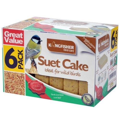WILD BIRD SUET CAKE PACK OF 6 WINTER GARDEN FOOD WILDLIFE BEEF MEALWORM PEANUT Kingfisher
