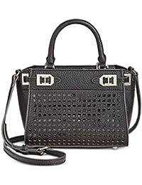 Womens Gleam Faux Leather Cut-Out Satchel Handbag Black Small