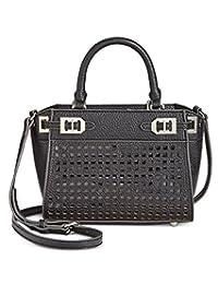 Nine West Womens Gleam Faux Leather Satchel Handbag
