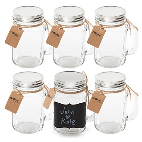 6 Pack - Vintage Mason Jar Mugs with Chalkboard Labels and Tin Lids, Mason Mugs with Handles for Weddings, Candle Jars, Party Favors, 16oz, by California Home Goods by California Home Goods (Image #6)