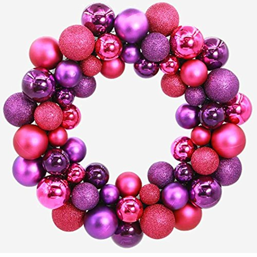 Hot Sale! Clearance!Todaies Christmas 55 Balls Wreath Door Wall Ornament Garland Decoration (34.5734.5CM, Purple)