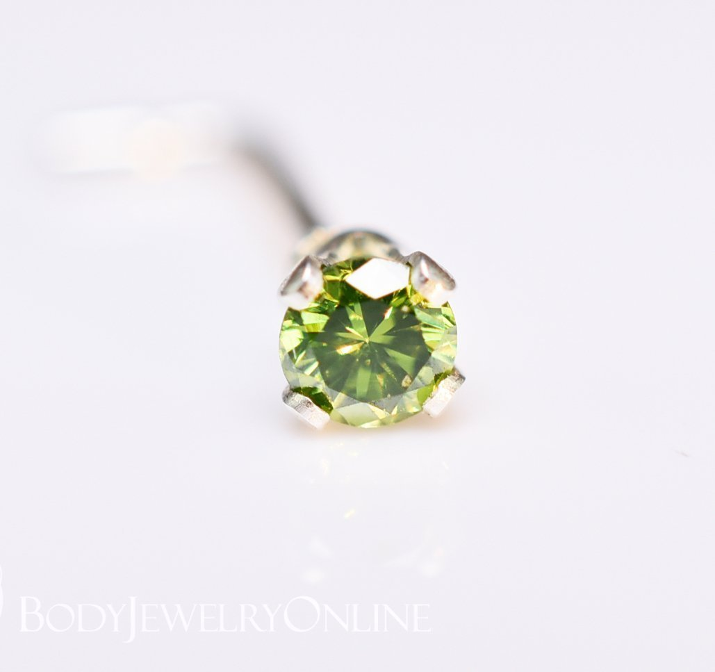 Genuine GREEN DIAMOND Nose Stud 2mm - Post w/ 14k Solid Yellow or White Gold or Sterling Silver - Helix Tragus Lobe Lip Cartilage by Body Jewelry Online