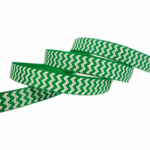 50yd 3/8 Chevron Printed St. Patricks Day Green Solid Grosgrain Ribbon Hairbow Craft Supplies
