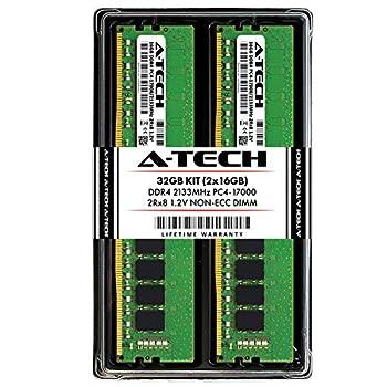 Image of A-Tech 32GB DDR4 2133MHz Desktop Memory Kit (2 x 16GB) PC4-17000 Non-ECC Unbuffered DIMM 288-Pin 2Rx8 1.2V Dual Rank Computer RAM Upgrade Sticks (AT16G2D4D2133ND8N12V) Memory