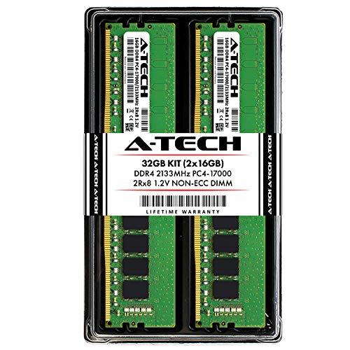A-Tech 32GB DDR4 2133MHz Desktop Memory Kit (2 x 16GB) PC4-17000 Non-ECC Unbuffered DIMM 288-Pin 2Rx8 1.2V Dual Rank Computer RAM Upgrade Sticks (AT16G2D4D2133ND8N12V)