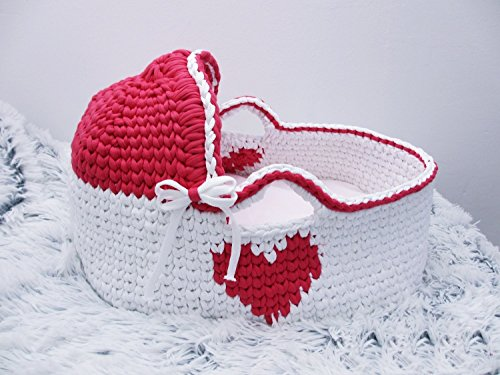Newborn Moses Basket Crochet basket Baby Bassinet Baby girl bed Baby bassinet Couture moses basket Infant Bed Organic bassinet Baby moses by Yunisiya