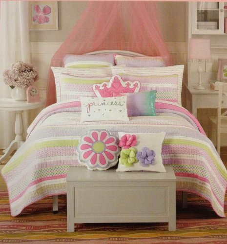 Maggie Miller Super Soft Twin Sheet Set - Lavender, Pink, and Lime Green Printed Sweet Dreams on White (Miller Bedding Maggie)