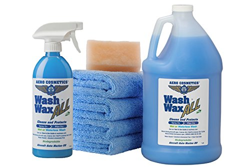 Aero Cosmetics Wet or Waterless Car Wash Wax Kit 144 Ounces. Aircraft Quality for Your Car, RV, Boat, Motorcycle. The Best Wash Wax. Anywhere, Anytime, Home, Office, School, Garage, Parking Lots.