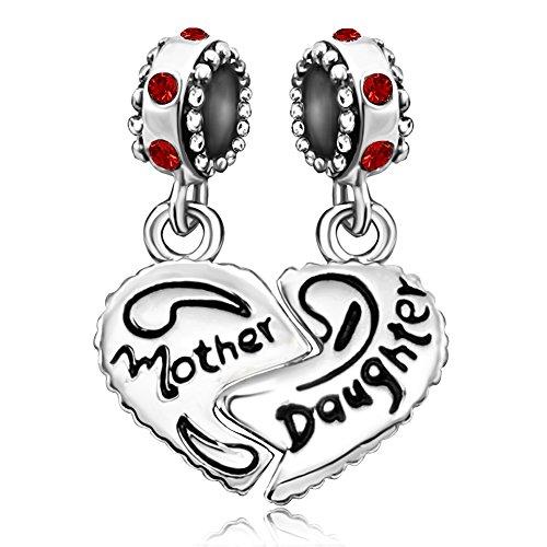 July Girls Charm - JMQJewelry Heat Mom Love Daughter Dangle July Birthstone Crystal Dangle Charms Bead For Bracelets