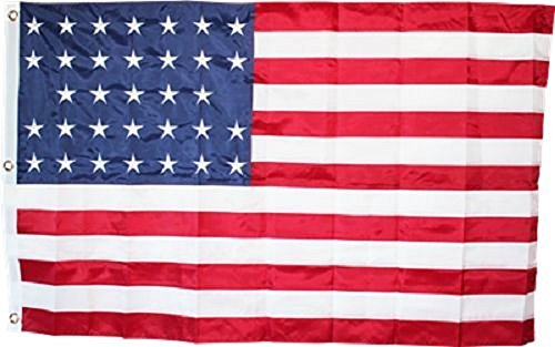 3x5 USA US American 33 Star 1859-1861 Embroidered Sewn Solarmax Nylon Flag 3'x5' Banner with Clips