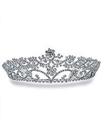 Bling Jewelry Rhinestone Flower Headpiece Crown Tiara Silver Plated