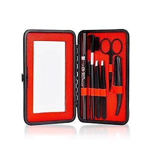 Eyebrow Razor Pencil Brush Stencil Scissors Tweezers Eyebrow Kit with Mirror for Men and Women (Dark Brown Eyebrow Pencil)