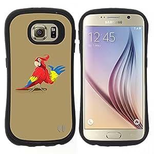 """Pulsar iFace Series Tpu silicona Carcasa Funda Case para Samsung Galaxy S6 , Loro Animación Dibujo Arte rojo de la historieta colorido"""""""