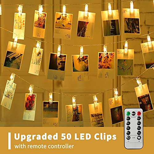 XTF2015 50 LED Photo Clips String Lights, Battery Operated 8 Modes Fairy String Lights with Clips for Wedding Party Bedroom Decoration to Hang Pictures Cards Artwork, Warm ()