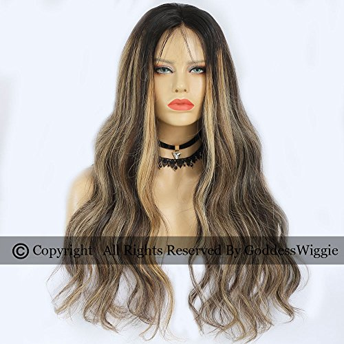 Balayage Human Hair Body Wavy Wigs With Baby Hair Front Lace Highlight Wigs For Women (20inch 150density) by Goddess
