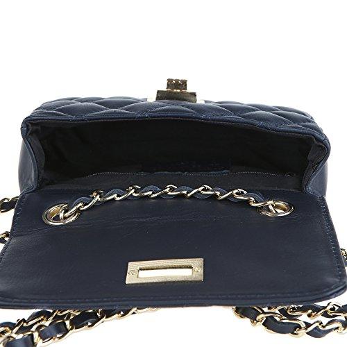 Italy embrague cuero in acolchado hombro Borse Chicca Oscuro en Azul Made 19x13x6 genuino Bolsa de Cm Clutch Mujer wO8Yq