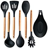 Cooking Utensils and Serving Spoons – 7 piece Wood and Silicone Kitchen Utensil Set – For Pots and Pans – Spaghetti Spoon, Spatula Tools, Cooking Spoons and Spoon Rest - All You Need in One Set