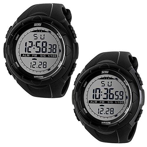 SunJas 5ATM Wasserdicht Sport Armbanduhr Fashion Men LCD Digital Stoppuhr Chronograph Datum Alarm Gummi-Sport-Armbanduhr (Schwarz+Titanium)