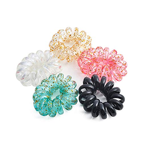 Spiral Elastic Hair Ties Hair Rubber Bands No Damage Traceless Hair Ring Rope Clear Plastic No Crease Twist Ponytail Holders Stretchy Hair Coil Telephone Cord Set Styling ()