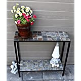 Pebble Lane Living 2 Tier Concrete Patio Console Buffet Sofa Table - Slate