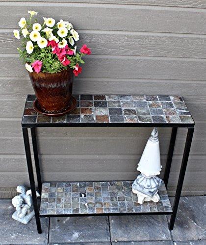(Pebble Lane Living 2 Tier Concrete Patio Console Buffet Sofa Table - Natural Slate Top and)