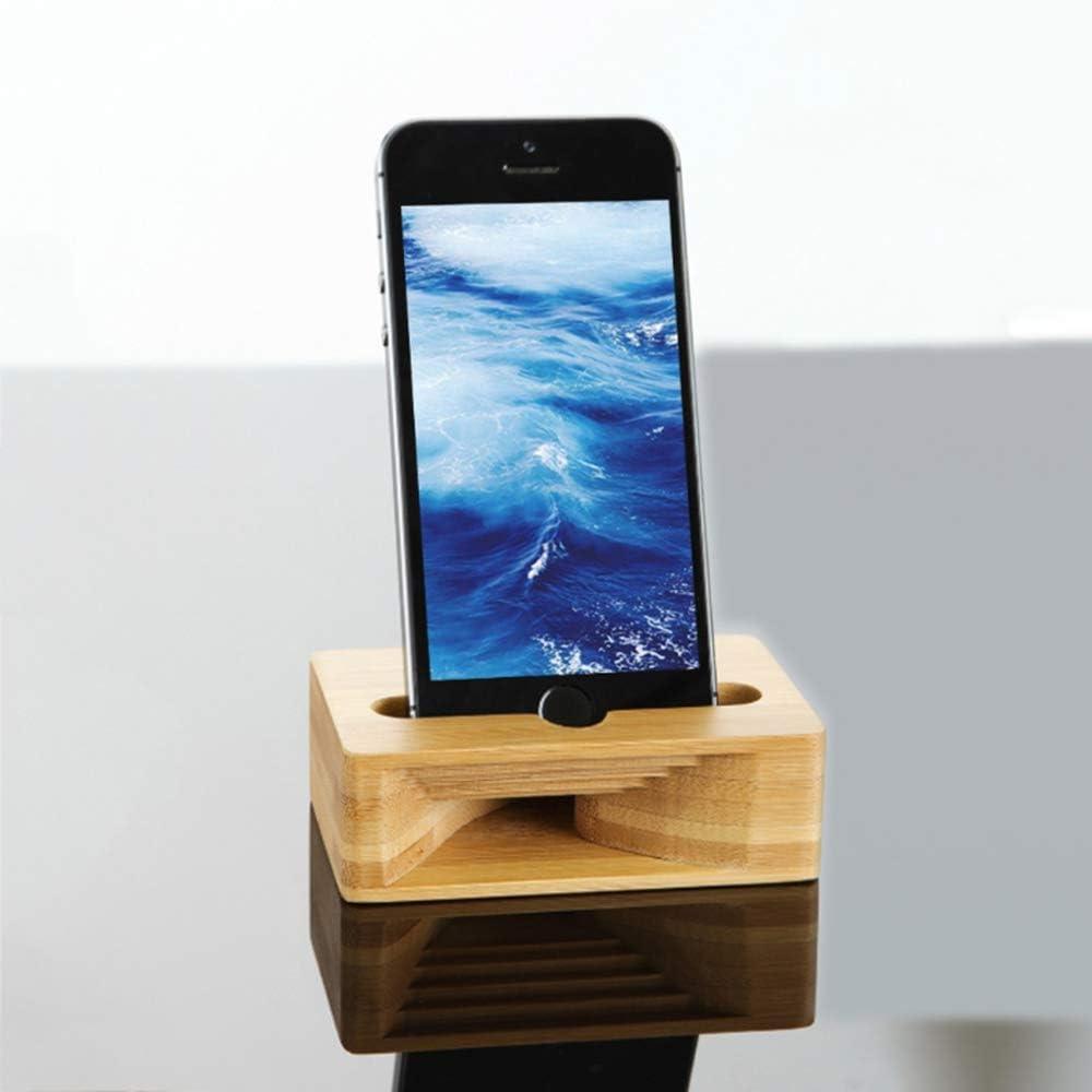 WPFC Phone Sound Amplifier Universal Bamboo Mobile Holder Stand Cellphone Loudspeaker