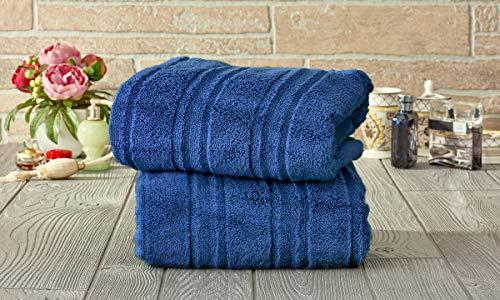 Set of 2 Microcotton 100% Cotton Zero-Twist Extra Plush Oversized Bath Towels – Fade-Resistant Egyptian Cotton Hotel Quality, Luxury Super Soft Highly Absorbent Bathroom Towel 30″ x 60″ (Denim Blue)