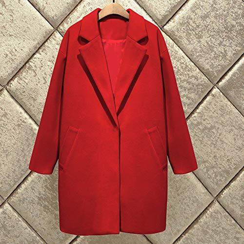 Mince Femmes En Long Fourrure Moyen D'hiver Rouge Pour Costume Laine Amuster Col À Coton Femme Manteau De z05xnwz1q4