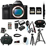Sony ILCE-7S/B ILCE7SB ILCE-7S a7S Full Frame Mirrorless Interchangeable Lens Camera with Two Sony 64GB SD Card + Sony VCT-R100 Tripod + Wasabi Power Two Replacement NP-FW50 Batteries & One Charger + Accessory Bundle