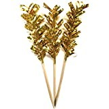 Simply Baked Frill Appetizer Toothpick, Metallic Gold Frill on Natural Wood Pick, 4-Inch, 24-Pack, Disposable and Sturdy