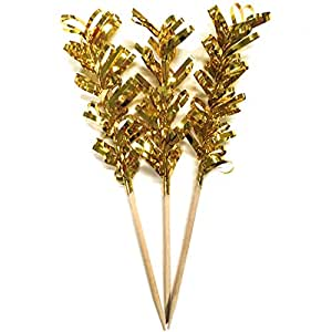 "Simply Baked Frill Appetizer Toothpick, Metallic Gold Frill on Natural Wood Pick, Disposable and Sturdy, Pack of 24, 4"" long"