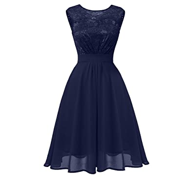 76c949d7e13b Women Lace Cocktail Neckline Party Dress Vintage Princess Sleeveless Tall  Waist Floral A-line Swing