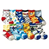 B&S FEEL Baby's Assorted 12 Pairs Cotton Socks (Anti-slip 1 to 3 Years Old)