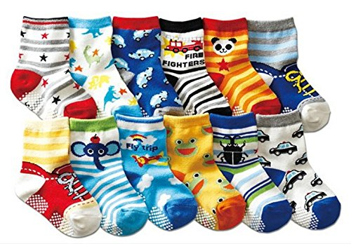 B& S FEEL Baby's Assorted 12 Pairs Cotton Socks (Anti-slip 1 to 3 Years Old) BS-S542
