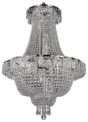 French Empire Crystal Chandelier Chandeliers Lighting, Silver, H30 X Wd24, 9 Lights,