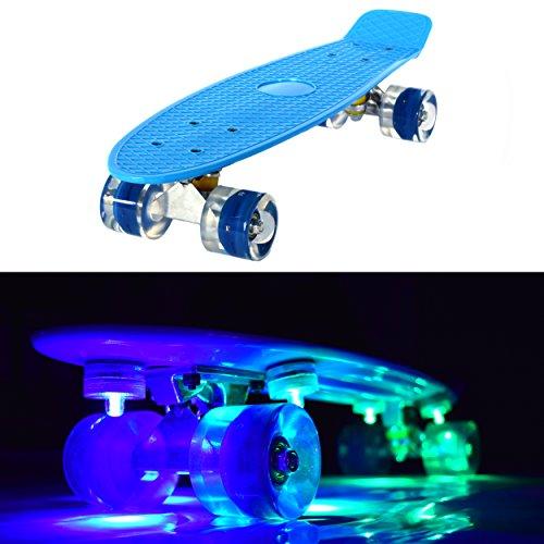 LED Skateboard mit Leuchtrollen, leuchtend, Penny Style Longboard street cruiser beleuchtung + 5 Klebelichter - (blau)